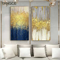Abstract Blue Golden Dots Canvas Painting Abstract Wall Picture for Living Room Big Wall Art Decor Grey Green Poster and Print