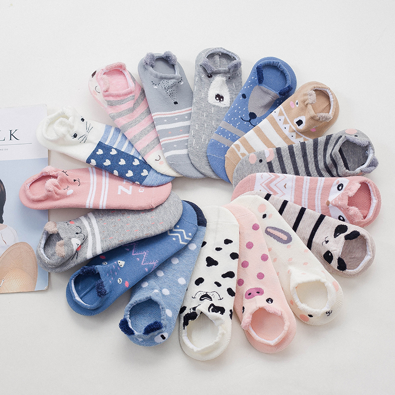5 Pairs Women   Sock   Spring Summer Shallow Mouth Cartoon Female Cotton Invisible Boat   Sock   Cotton Japanese Cute Animal Ankle   Sock
