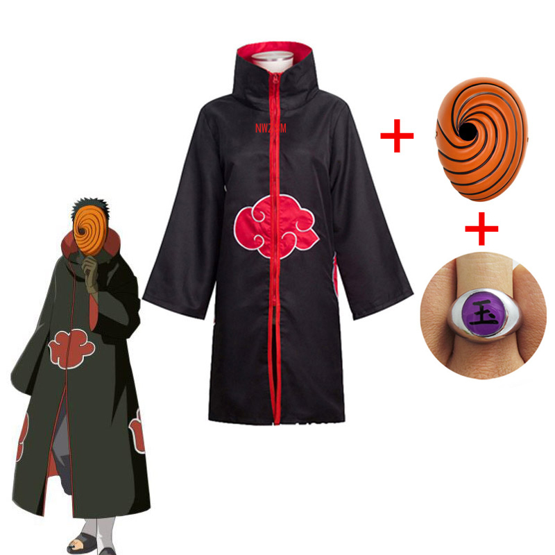 Akatsuki Tobi Obito Cosplay Costume Akatsuki Long Sleeve Cloak Halloween Carnival Funny Adult Cosplay Costume