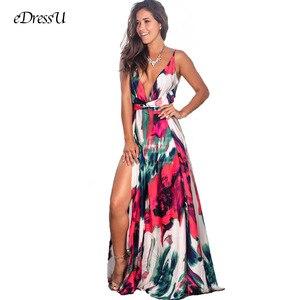 Image 2 - 9 الألوان المرأة ماكسي اللباس عالية الشق أكمام V الرقبة فستان صيفي هوليداي بيتش عارضة فستان طويل eDressU LQ 2301