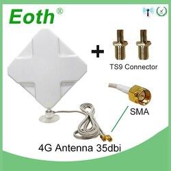 3g 4g antena 35dbi 2m cabo lte antena 2 * conector sma para 4g modem roteador + adaptador sma fêmea para ts9 macho conector