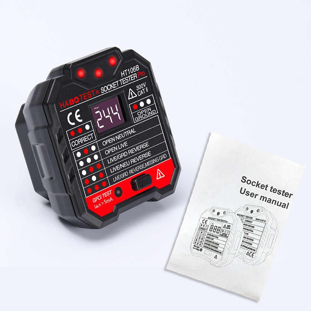 Socket Tester RCD Socket Tester Neutrale Aarde Draad Circuit Polariteit Stekker Breaker Finder Elektrische Lekkage Test EU/US /UK Plug
