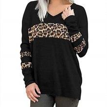 Леопардовый лоскутный Топ Женская футболка с длинным рукавом v-образные вырезы тройник осенние свободные футболки женские модные топы женская уличная одежда
