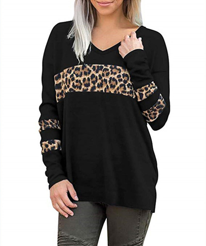 Leopard Patchwork Top Women Long Sleeve T Shirt 2019 V-neck Tops Tee Autumn Loose Tee Shirts Female Fashion Top Lady Streetwear
