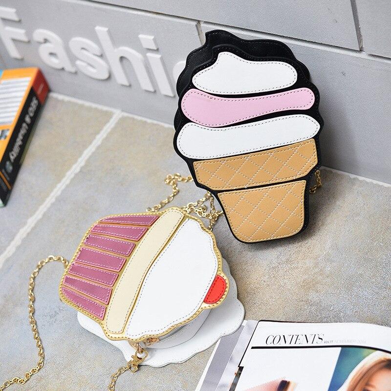 Pu-Chains-Bags Messenger-Bags Fries Cupcake Hamburger Ice-Cream Creative-Style Woman