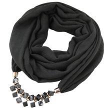Jzhifiyer scarf lady bead plain jewelry necklace feminino mujer fashion ring shawl echarpe solid candy color hijab bandana