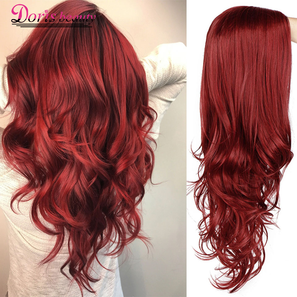 Doris Beauty Synthetic Long Wavy Wig Side Part Cosplay Red Hair For Women Black Pink Wave Ladies Natural Heat Resistant Fiber