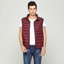 Jesienna i zimowa kamizelka puchowa męska ultra-cienka krótka kurtka puchowa o dużych rozmiarach lekka przenośna kamizelka puchowa tanie tanio Others Vest Solid Color K8852