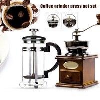 Grinder Press Topf Set Manuelle Kaffeemühle Kaffee Maker Holz Manuelle Mühlen OCT998-in Manuelle Kaffeemühlen aus Heim und Garten bei