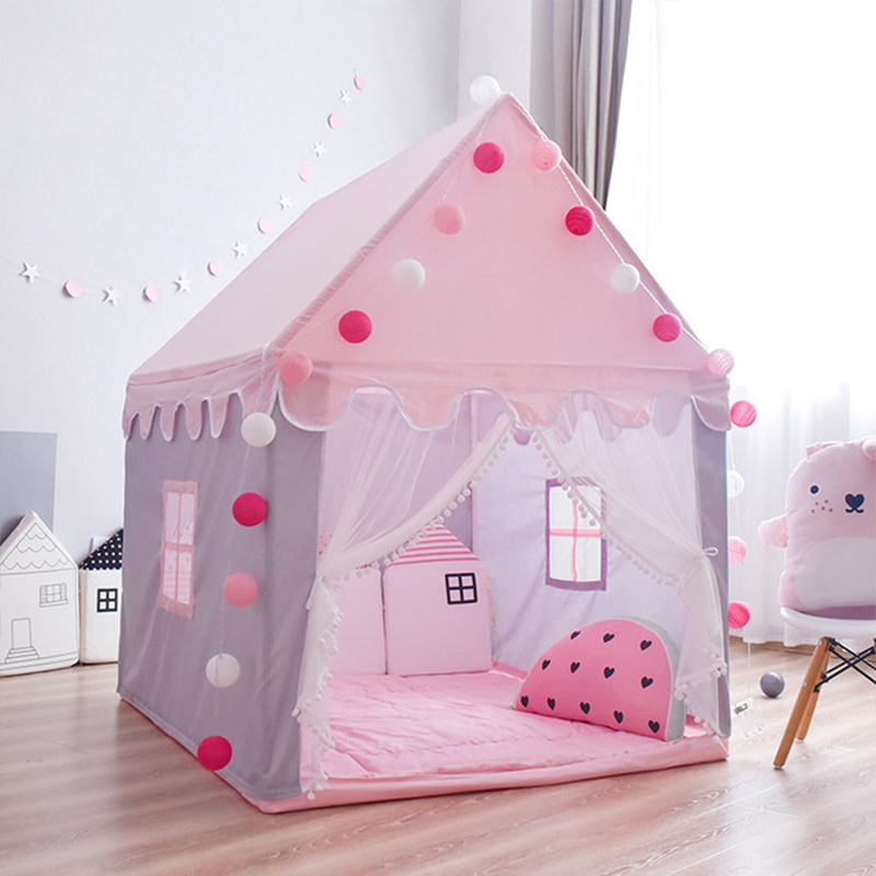 1.45M Kids Play Tent Kids Indoor Outdoor Castle Tent Baby Princess Game House Girl Oversized House Folding Castle Gift Tents Toy