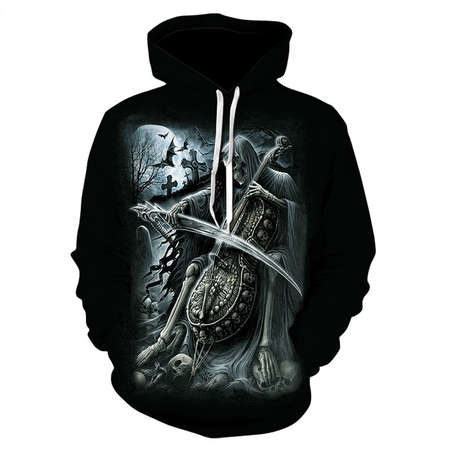 Autumn And Winter Hot Unisex Sweatshirt 3d-printed Guitar Skull Hoodie Pocket Black Coat Men's Hoodie Manufacturer Promotion