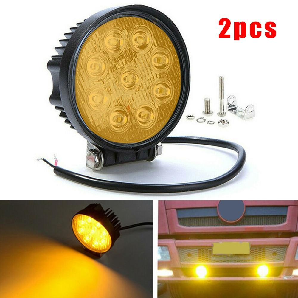 2pcs 4-Inch 27W Round Amber LED Work Light Bar Spot Offroad Driving Fog Lamp Super High Power Chip Super Waterproof