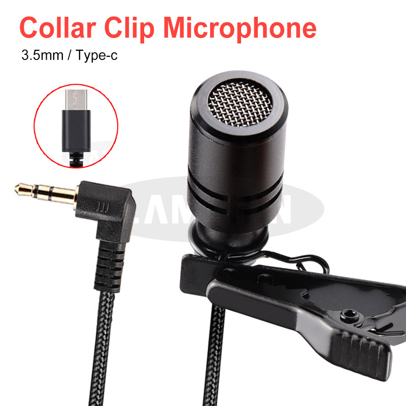 Mini Microphone 3.5mm Type C Condenser Audio Recording Tie Clip Mic For PC Laptop Huawei Xiaomi Samsung Portable Microphone