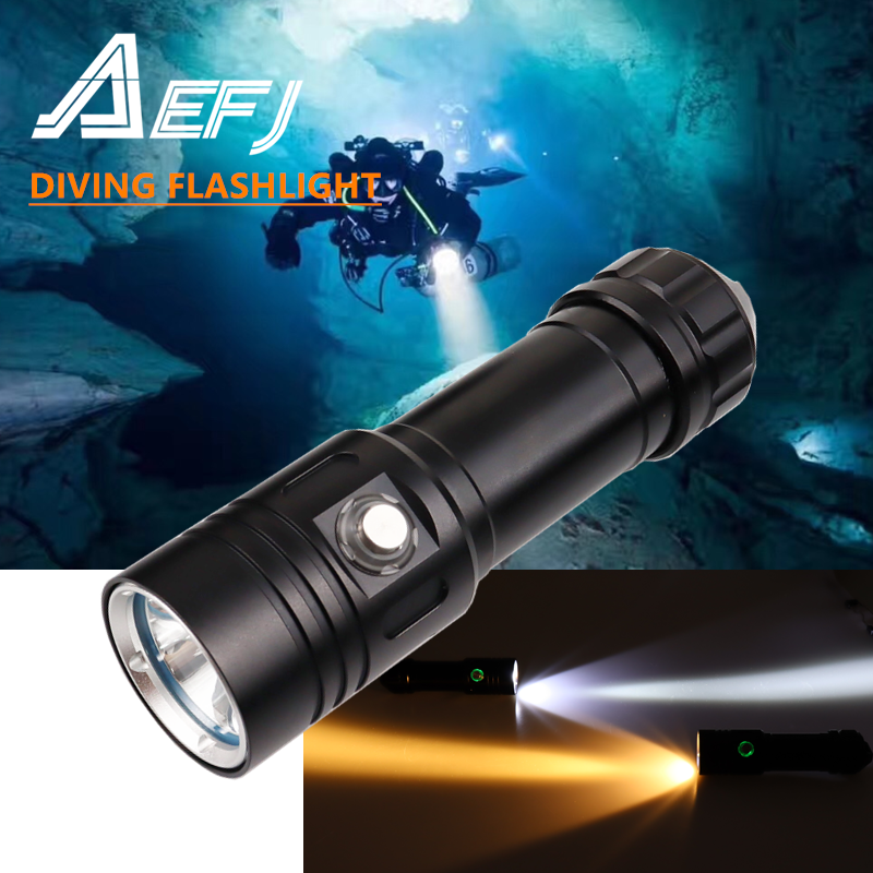 100m Underwater Most Powerful Professional Diving Led Flashlight Light Scuba Dive Torch Rechargeable Xm L2 Hand Lamp 26650 18650