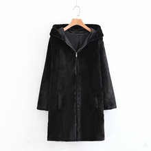 Buy Faux Fur Teddy Bear Coat Jacket Women Fashion Open Stitch Hooded Coat Female Long Sleeve Fuzzy Jacket Coat directly from merchant!