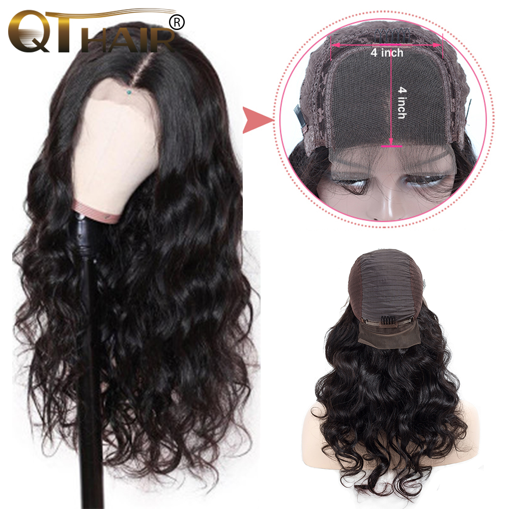 4*4 Lace Front Human Hair Wigs For Women Brazilian Body Wave Lace Frontal Wig Pre Plucked With Baby Hair QTRemy Hair Black Color