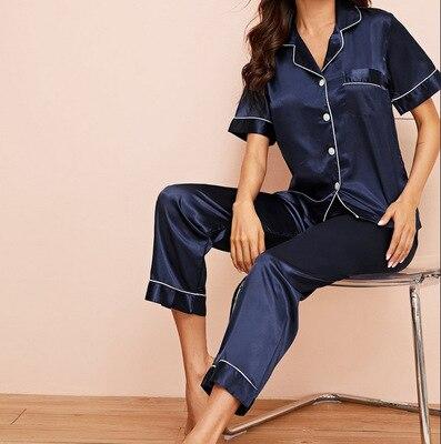 Daeyard Women 39 s Pajamas Summer Silk Button Up Short Sleeve Shirt And Pants 2 Pcs Pj Set Ladies 39 Pyjamas Sleepwear Home Clothes in Pajama Sets from Underwear amp Sleepwears