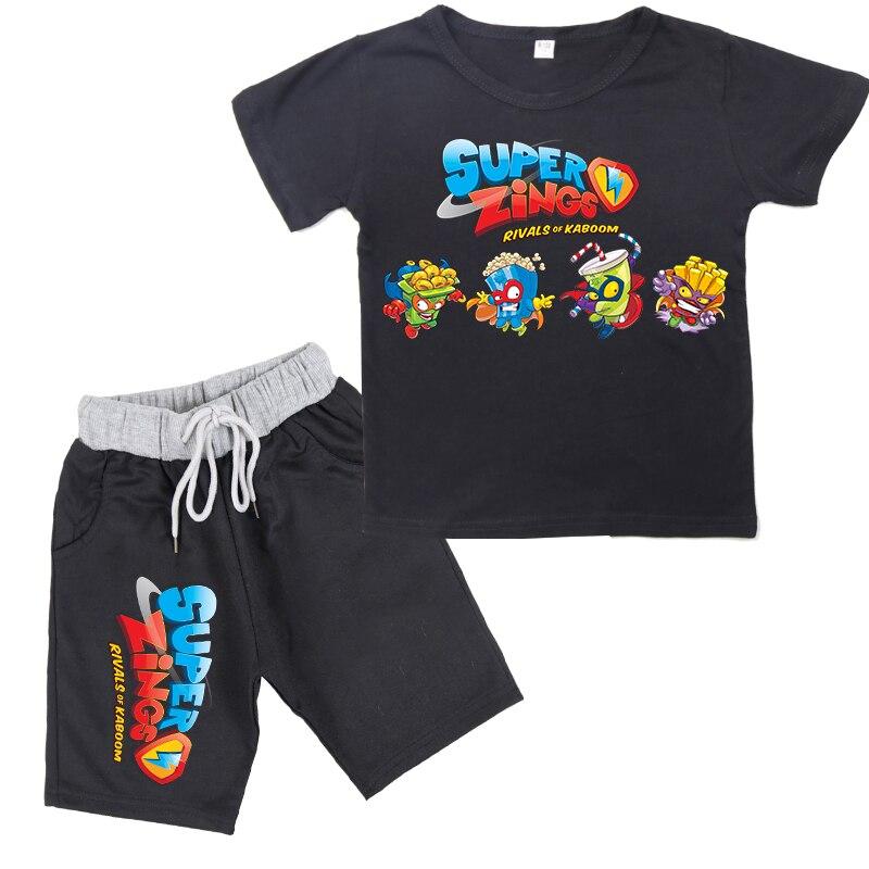 Moda 2020 novos meninos do bebê super zings série 4 camiseta + shorts impressão superzings crianças meninas terno casual conjuntos de roupas