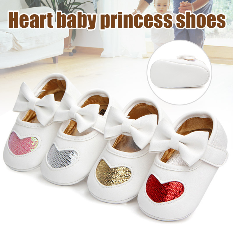 Baby Shoes Soft-Bottom Girls Autumn Princess And Non-Slip S7JN Models Heart-Four-Color
