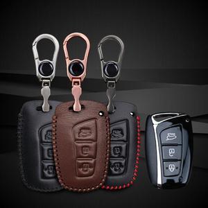 Image 2 - Voor Hyundai IX45 Tucson Santa Fe Solaris IX35 I30 IX25 Lederen Auto Key Case Cover Tas Autosleutels Accessoires