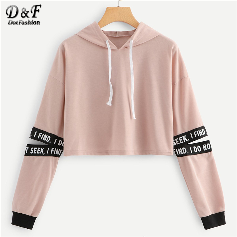 Dotfashion Pink Letter Drawstring Hoodie Cut Out Sleeve Crop Sweatshirt Women Casual Autumn Clothing Hooded Long Sleeve Pullover