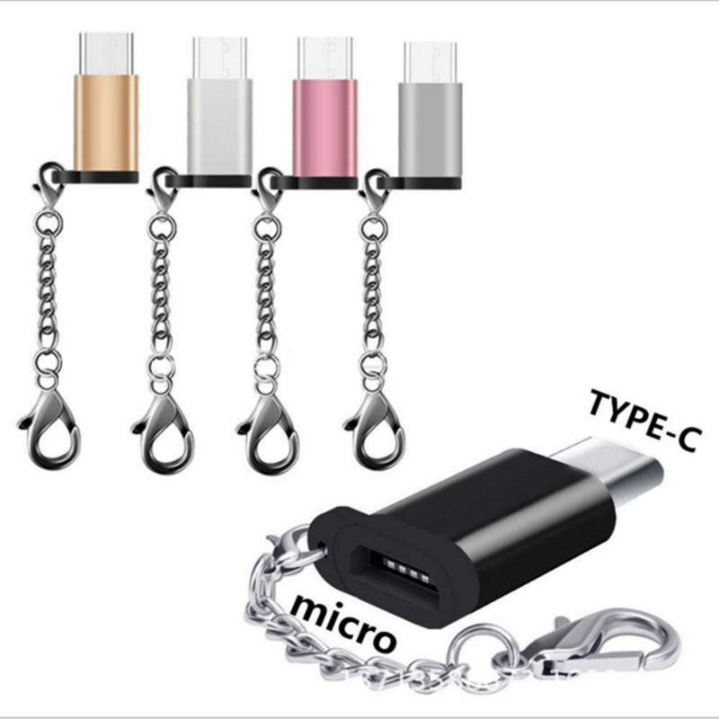 1pc USB-C To Micro USB Adapter Anti-lost Keychain USB Type-C To Micro USB Convert Connector For IPhone Xiaomi Samsung For Huawei