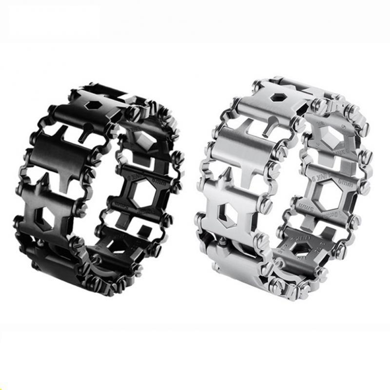 New Wearable Tread Multifunction Tool Bracelet Tread Bracelet Stainless Steel Bolt Driver Tools Kit Friendly Bike Outdoor Tool