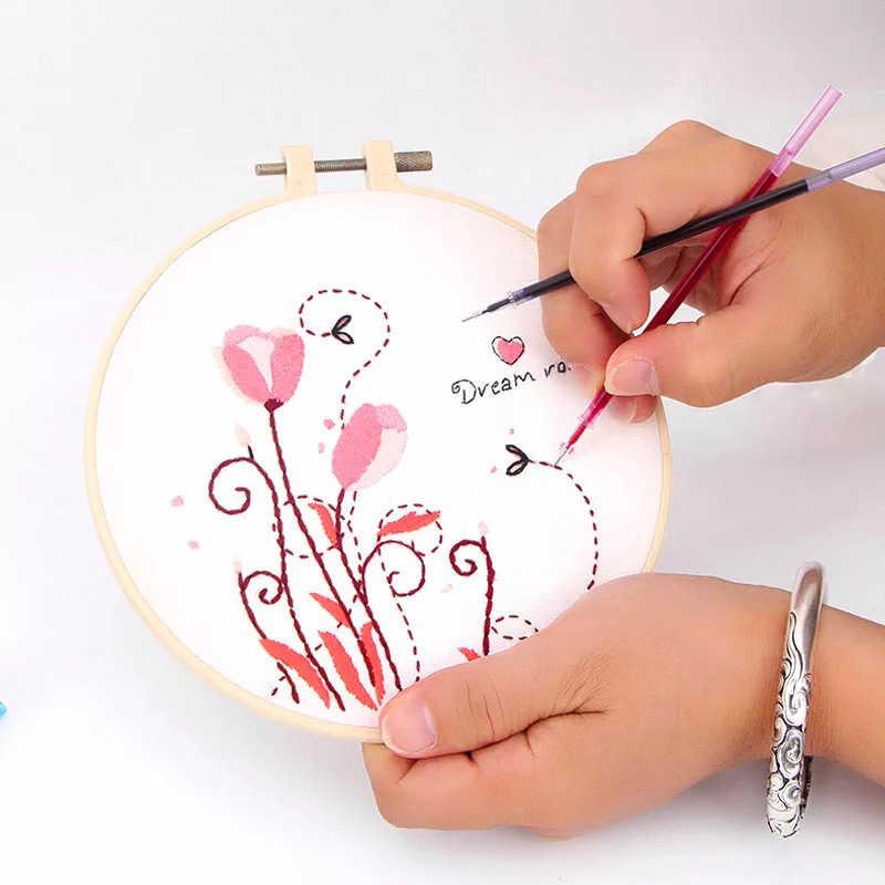 10 個水溶性ペン DIY クロスステッチ生地マーカーペングリッドに生地一時的なマーキング刺繍ミシンツール