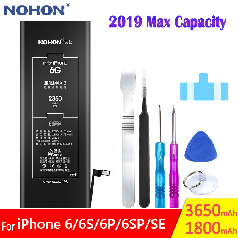 NOHON 2019 Max High Capacity Phone Battery For iPhone 6 6G 6S 6GS Plus SE Replacement iPhoneSE iPhone6 Mobile Bateria Batarya image