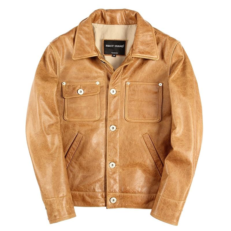 Jacket Light Brown Genuine-Cowhide XXXL Casual Short Slim Coat Japan-Style Plus-Size