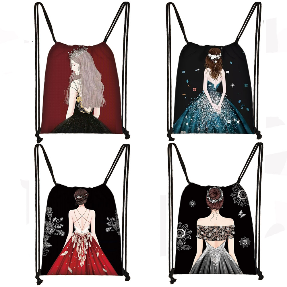 Elegent Ladies Print Women Drawstring Bag Men Fashion Storage Bag Teenager Boy Casual Backpack Travel Bags Bookbag Gift Sack Bag