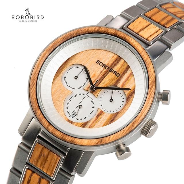 BOBO BIRD luxury Stainless Steel Wood Watches Men Chronograph Date Display Quartz Wristwatches Relogio Masculino Dropshipping