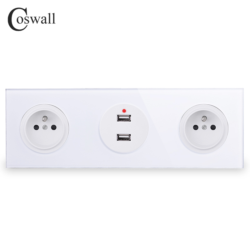 Coswall Tempered Pure Glass Panel Double French Standard Wall Power Socket  + Dual USB Charging Port 2.4A Output R11 Series