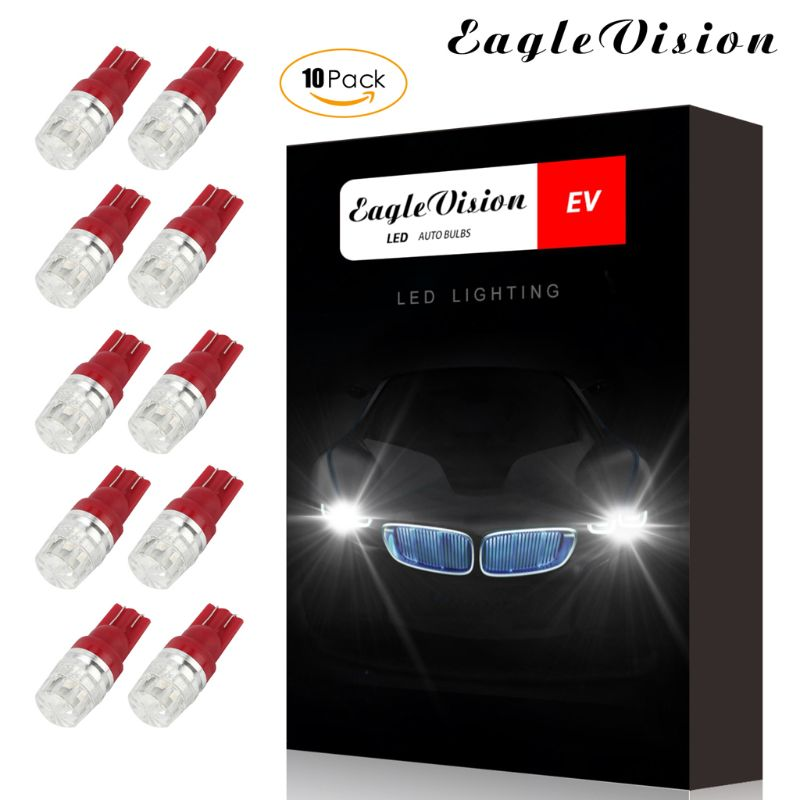 High Quality New 10pcs DC12V T10 Car Width Lamps Red Lighting Side Interior Lights Decoding Light
