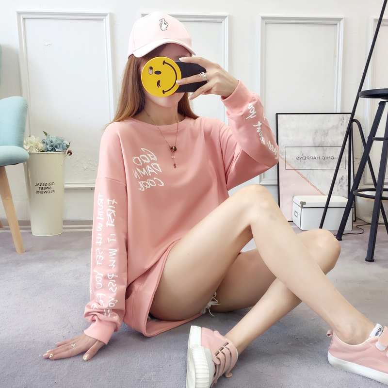 2019 autumn new Korean version of the XL T-shirt women's thin section long-sleeved loose hole wild T-shirt shirt women 73