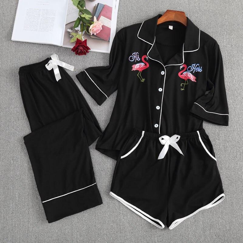 Women Cotton Pajamas Fashion Luxury Women Pyjamas Tops Set Pajamas Set NightSuit Sleepwear Sets Short+Long Pant Women Nightwear