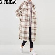 Manteau en laine à carreaux contrastés pour femme, Long, épais et chaud, avec ceinture, nouvelle collection automne hiver 2020, décontracté