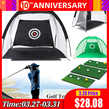 PGM kryty odkryty składany Golf siatka treningowa Golf uderzenie klatka ogród użytki zielone praktyka namiot Golf sprzęt treningowy tanie i dobre opinie IGA1503 Odzież obuwie cap Klatki i maty Golf Training Aids Golf Practice Net Practice Net for Golf Player Green Blue Black