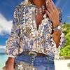 Boho Blouse Elegant V Neck Tassel Women Tops Sexy Three Quarter Sleeve Floral Print Shirt 2020 Spring Autumn Chic Blouses S-2XL 1