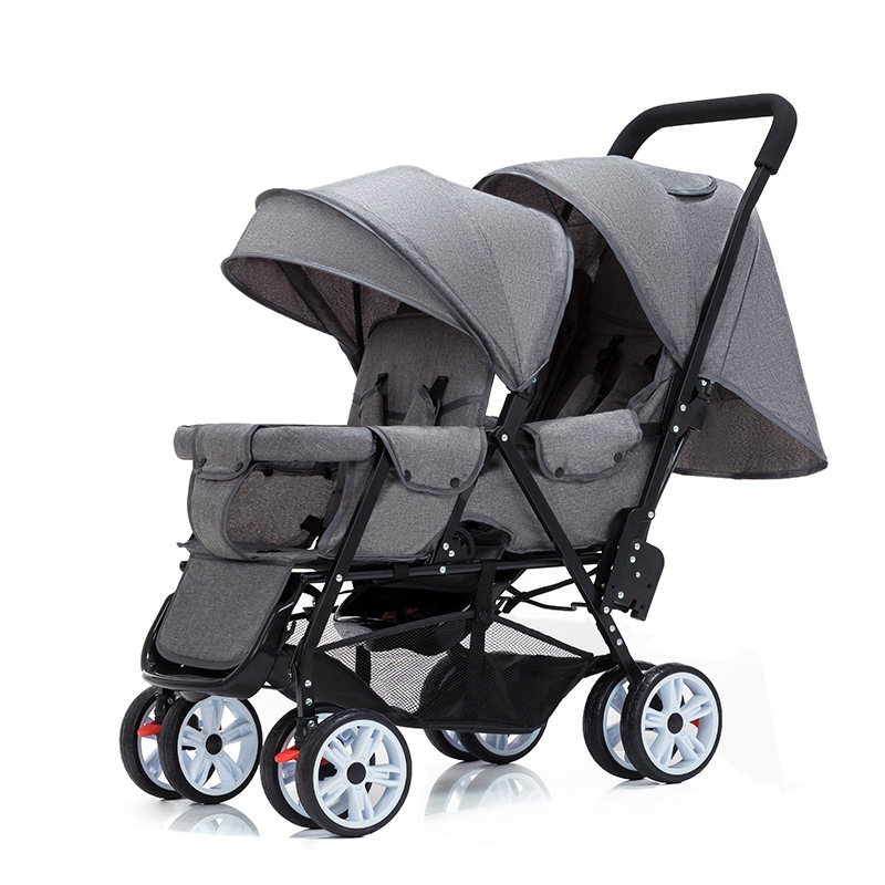 Twin Stroller Double Stroller Lightweight Folding Front and Rear Seats can sit and lie Baby Stroller image