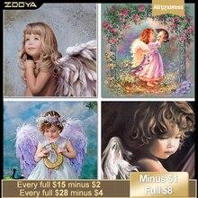 ZOOYA Алмазная картина ангел ребенок полная квадратная Алмазная Вышивка Узор Стразы Смола холст для поделок мозаика рукоделие SF365