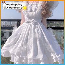 Женское платье в стиле «лолита» черно белое двухцветное на бретельках