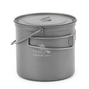 TOAKS 1100ml Titanium Pot Titanium Pot Cooking Picnic Hang Pot Camping Portable Ultralight POT-1100-BH