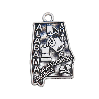 HAEQIS DIY Alloy American State Alabama Map Charms Metal City Montgomery Pendant Charms for souvenir 50pcs 1 image