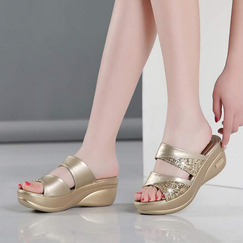 Spring Brand Bling Slipper Woman Shoes Ladies PU Leather Wedges Flat Shoes Female Casual Slingbacks Sandals Comfortable Platform 4