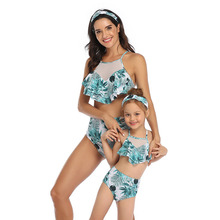Leaf Printing Mommy And Me Swimwear Family Look Mom And Daughter Bathing Suit Mother Daughter Swimsuits Family Matching Bikinis family swimsuits mommy and me clothes mother daughter swimwear floral bathing suits mom girls matching outfits bikini dress look