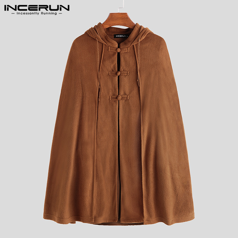 INCERUN Men Cloak Coats Solid Color Hooded Vintage Button Casual Ponchos Loose Streetwear Jackets Fleece Cape Male Trench S-5XL