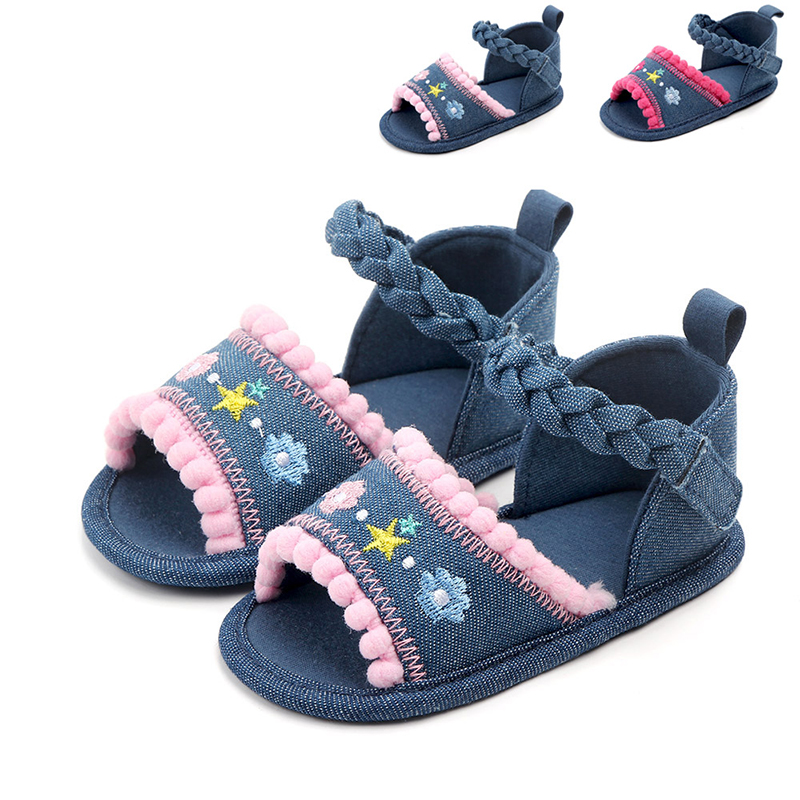 Baby Girl Sandals Summer Baby Girl Shoes Cotton Canvas Embroidery Floral Newborn Baby Shoes Casual Sandals 0-12M Fashion