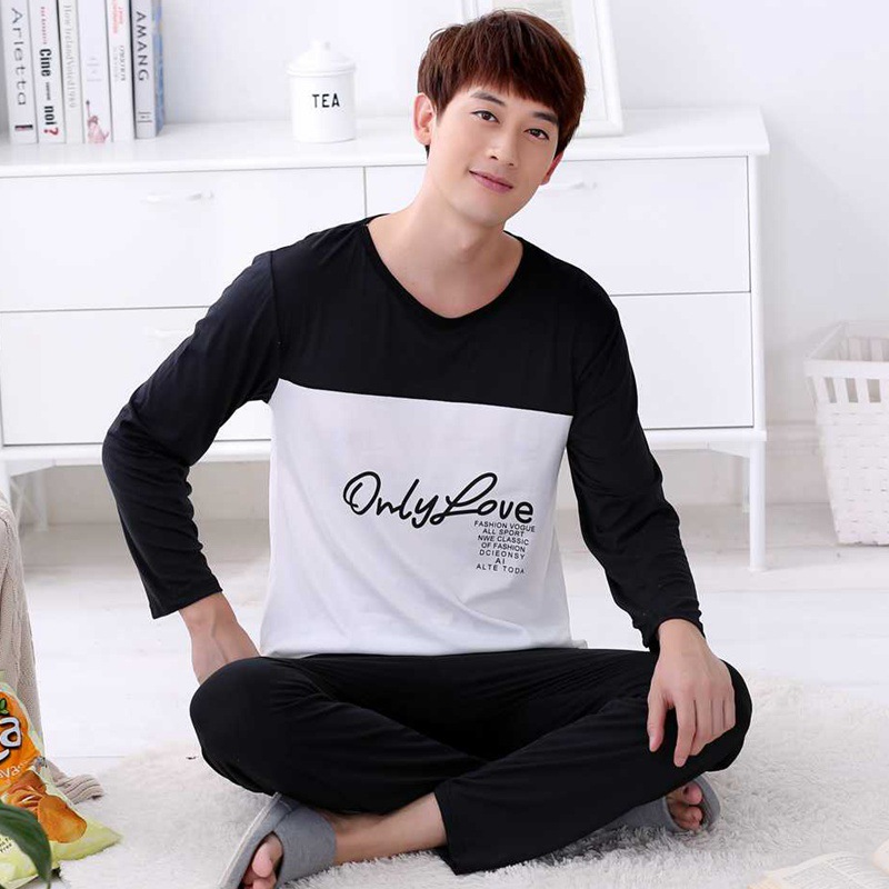 Pajamas Letter Sleepwear Lounge Striped Winter Cotton Men's Plus-Size Casual 3XL Autumn title=