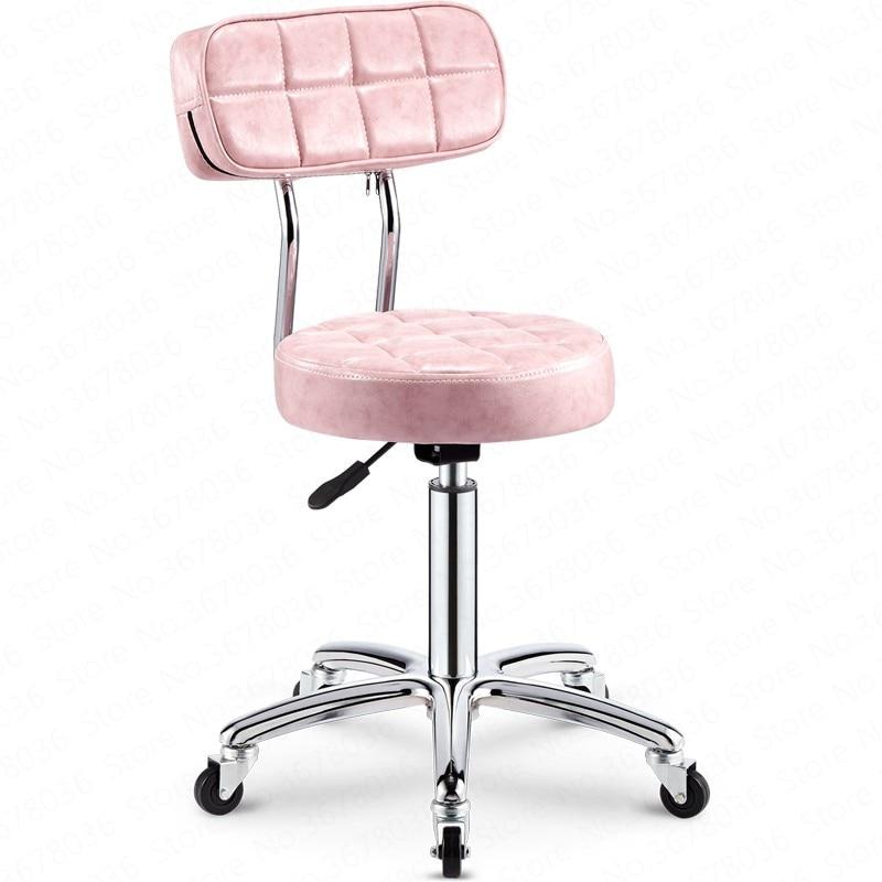 Bar Chair Backrest High Stool Beauty Chair Rotating Lift Chair High Bar Stool Round Chair Fauteuil Modern Cadeira